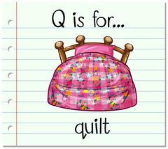 Flashcard alphabet Q is for quilt - stock illustration