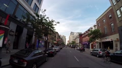 Montreal - st catherine  street by car 5 Stock Footage