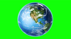 4K Realistic Earth Rotating (Loop on Greenscreen) Stock Footage