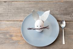 Rabbit decoration on plate Stock Photos