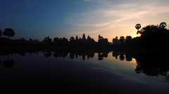 Angkor Wat Temple at Sunrise, Siem Reap, Cambodia Stock Footage