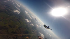 Skydiving wing suit flight Stock Footage