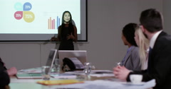 A confident Asian businesswoman presenting a financial report. Stock Footage