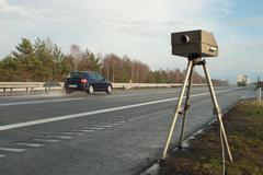 Stock Photo of Speed limit enforcement on German motorway
