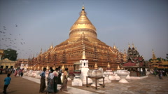 Shwezigon Pagoda in Nyaung-U, Near Bagan, Myanmar (Burma) Stock Footage