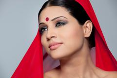 Portrait of a beautiful woman with a bindi Stock Photos