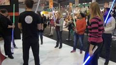 Manipulation Of Lightsaber In A Workshop Stock Footage