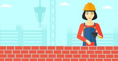 Bricklayer with spatula and brick - stock illustration