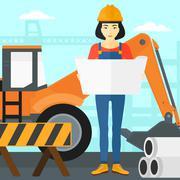Engineer holding a blueprint - stock illustration