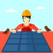 Constructor with solar panel Stock Illustration