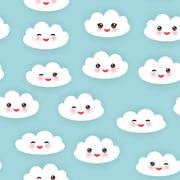 Kawaii funny white clouds set, muzzle with pink cheeks and winking eyes - stock illustration