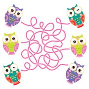 set bright colorful owls on white background. labyrinth game for Preschool Ch - stock illustration