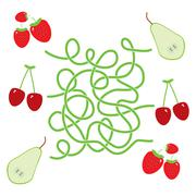Pear cherry strawberry fruit labyrinth game for Preschool Children. Vector Stock Illustration