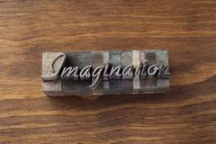 "Lead type spelling """"imagination"""" Stock Photos"