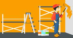 Painter with paint roller - stock illustration