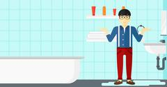 Man in despair standing near leaking sink - stock illustration