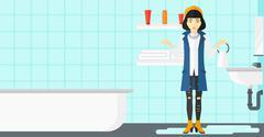 Woman in despair standing near leaking sink - stock illustration