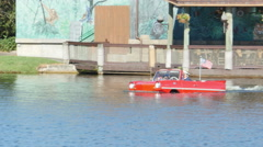 Amphibian Car Convertible Going in Water in Disney Spring Orlando FL Arkistovideo