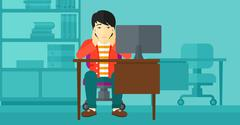 Tired employee sitting in office - stock illustration
