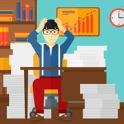 Despair man sitting in office Stock Illustration