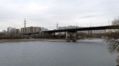 Bridge Over the River in the City of Gloomy. Stock Footage