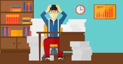 Despair man sitting in office - stock illustration