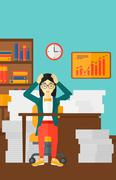 Despair woman espair sitting in office - stock illustration