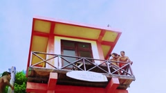 Lifeguards are watching surfers,Dreamland,Bali Stock Footage