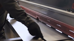 Cutting machine carving patterns on the steel plate Stock Footage