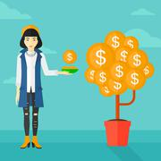 Stock Illustration of Woman catching dollar coins