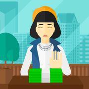 Woman refusing bribe - stock illustration