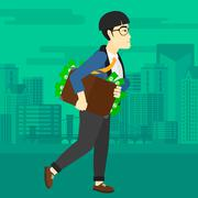 Man with suitcase full of money - stock illustration