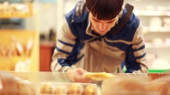 Customer Buying Loaf From Market Bread Stall. 1920x1080. hd Stock Footage