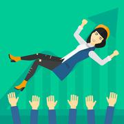 Successful business woman during celebration - stock illustration