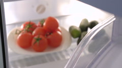 Refrigerator with fruits and vegetables Stock Footage