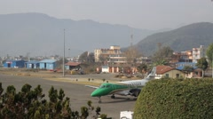 NEPAL, POKHARA - 28 FEBRUARY 2016: The plane is parking on the apron - stock footage