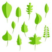 Spring green leaves in flat style set - stock illustration