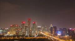Skyline Beijing CBD, urban China, night time lapse Stock Footage