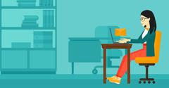 Woman receiving email - stock illustration