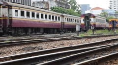 train switching the railway before serving at State Railway of Thailand Stock Footage