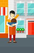 Stock Illustration of Bakery owner with bread