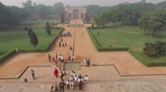 Humayuns tomb garden entrance - India Stock Footage