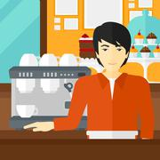 Barista standing near coffee maker Stock Illustration