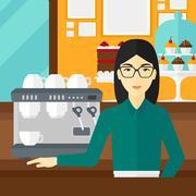 Barista standing near coffee maker - stock illustration