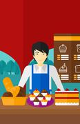 Successful small business owner - stock illustration