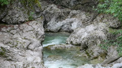 Closeup view to the water stream of mountain river Stock Footage