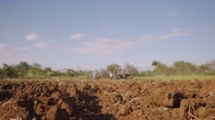 Farmer Driving Tractor Closeup Of Seeded Soil And Ground Stock Footage