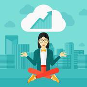 Peaceful business woman meditating Stock Illustration