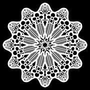 Lace round paper doily, lacy snowflake, greeting element package Stock Illustration