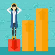 Business woman standing on low graph Stock Illustration